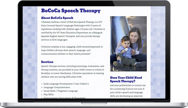 Simple Website BoCoCa Speech Therapy