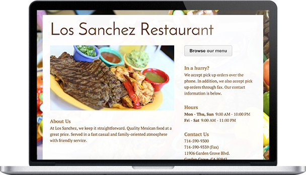 Simple Website Los Sanchez Restaurant