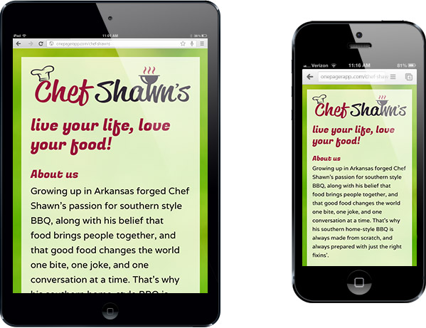 Simple Mobile Site Chef Shawn's