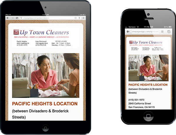 Simple Mobile Site Up Town Cleaners