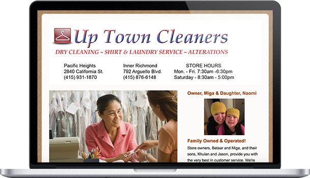 Simple Website Up Town Cleaners