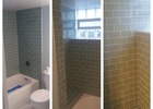 All glass subway tile tub surround with many features