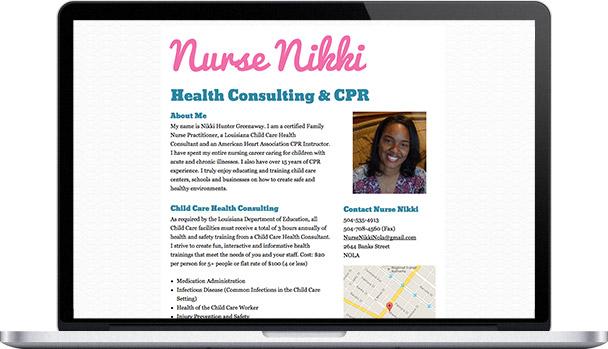 Simple Website Nurse Nikki